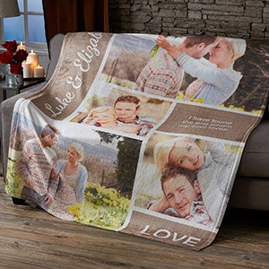 Personalized Fleece Photo Blankets - Love Photo Collage - 19890