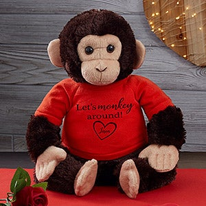 Personalized Valentine's Day Stuffed Monkey - 19960