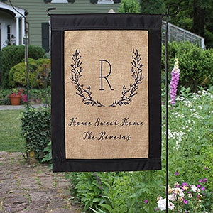 Farmhouse Floral Personalized Burlap Garden Flag