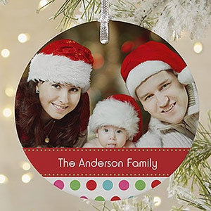 Personalized Photo Christmas Ornaments - Polka Dots - 20049