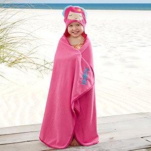 Embroidered Mermaid Kids Hooded Beach Towel - 20080