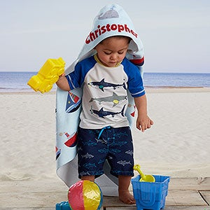 Personalized Hooded Beach Towels - Nautical Design - 20117