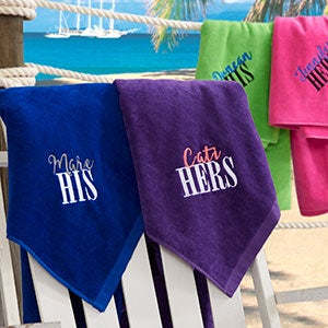 His & Hers Personalized Honeymoon Beach Towel - 20124