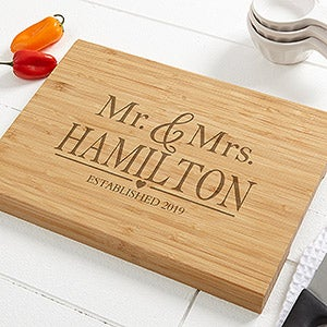 Wedding Couple Personalized Bamboo Cutting Board - 20126