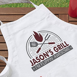 BBQ Grill Personalized Aprons & Potholders - 20134