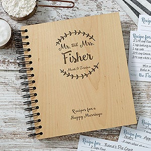 mr mrs engraved wood recipe book wedding gifts