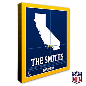 Los Angeles Chargers Personalized NFL Wall Art - 20221