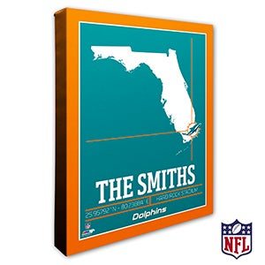 Miami Dolphins Personalized NFL Wall Art - 20223