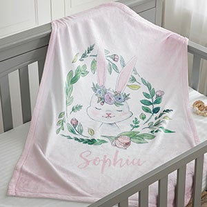 woodland floral bunny personalized fleece baby blanket baby gifts
