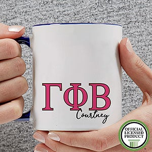 buy gamma phi beta coffee mugs personalized with any name each mug includes gamma phi beta greek letters any custom text
