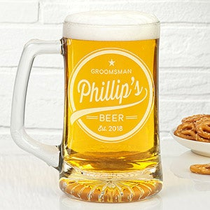 Personalized Beer Mugs For Groomsmen - Beer Label - 20401