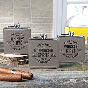 Vintage Distillery Leatherette Personalized Flask - 20413