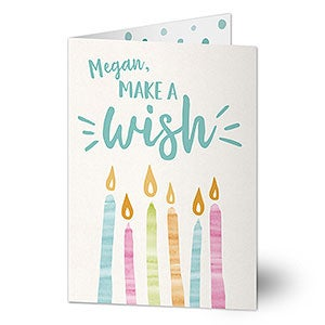 Personalized Birthday Card - Watercolor Candles - 20432