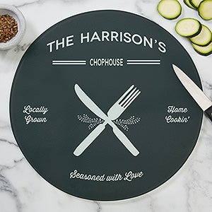 Personalized Round Glass Cutting Boards - Farmhouse Kitchen - 20469