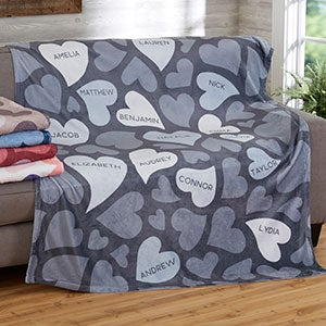 loving hearts personalized 60x80 fleece blanket for her
