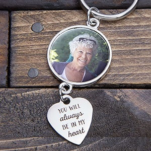 Always In My Heart Personalized Memorial Photo Keychain - 20562D