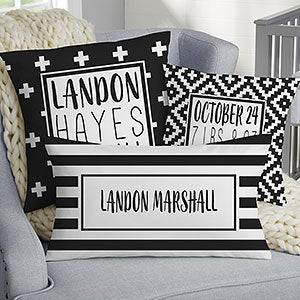 Personalized Baby Pillow - Modern Black & White - 20569