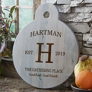 Personalized Round Wooden Serving Paddle - Family Kitchen - 20573