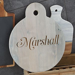 Personalized Round Wooden Serving Paddle - Classic Kitchen - 20574