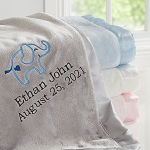 Pink Elephants Baby Girl Blanket Personalized Baby Blanket Elephant Baby Blanket Baby Blankets Personalized Embroidered Baby Blanket