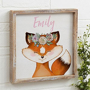 Woodland Baby Girl Personalized Rustic Wall Art - 20687