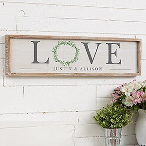 LOVE Wreath Personalized Barnwood Frame Wall Art - 20692