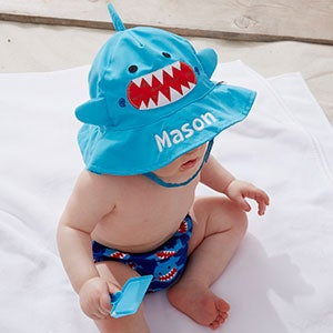 Personalized Baby Boy Sun Hat & Diaper Cover Set - Shark - 20754