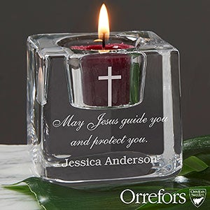 Personalized Votive Candle Holder - Cross Ice Cube - 20756