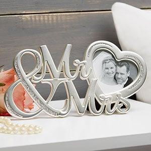 Mr & Mrs Glitter Heart Wedding Picture Frame - 20870