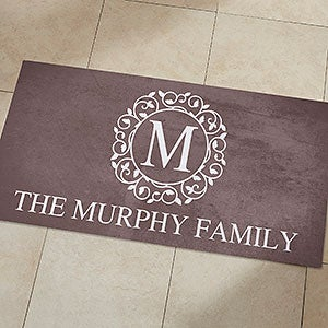 Personalized Kitchen Mats Add Any Monogram And Text To Our Elegant Clic Circle Vine Design Mat Is Available In Your Choice