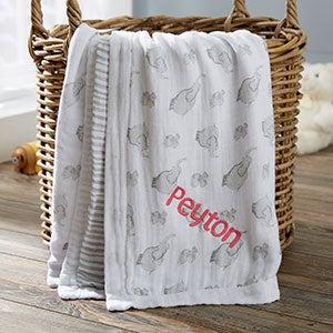 Personalized Elephant Muslin Baby Blanket - 20908