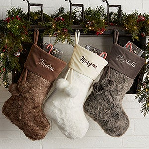 Personalized Faux Fur Christmas Stockings - 20986