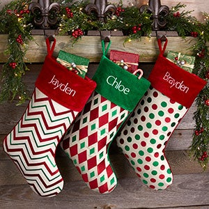 red green patterns personalized christmas stockings 20987 - Red And Green Christmas Stockings