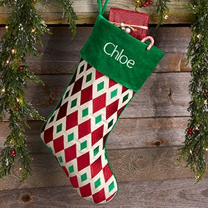 buy red green patterns personalized christmas stockings and add any name monogram or initial to be custom embroidered in your choice of colors and fonts - Red And Green Christmas Stockings