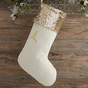 buy personalized sequin christmas stockings and add any name initial or monogram to be custom embroidered in your choice of colors and fonts - Gold Christmas Stocking