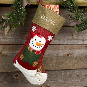 buy personalized snowman christmas stockings with our rustic designs perfect for boys and girls choose from 2 snowman designs and add any name or - Girl Christmas Stocking