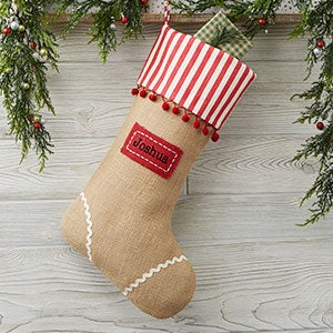 buy personalized christmas stockings made with burlap and white and red candy cane stripe details choose from 2 designs ans add any name to be featured on - Burlap Christmas Decorations For Sale