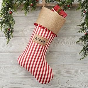 personalized stripes burlap christmas stockings 21003 - Striped Christmas Stockings