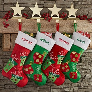 personalized red green christmas stockings 21005 - Red And Green Christmas Stockings