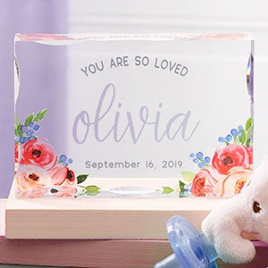 Personalized Acrylic Baby Keepsake - Floral Baby - 21024
