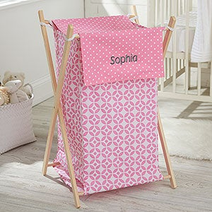 Personalized Collapsible Baby Laundry Hamper - Pink - 21134