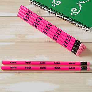 personalized pencils neon pink set of 12