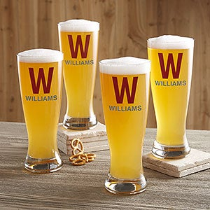 initial name personalized beer pilsner glass