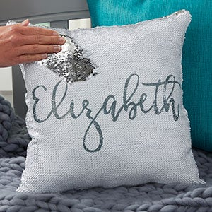 personalized mermaid sequin throw pillow