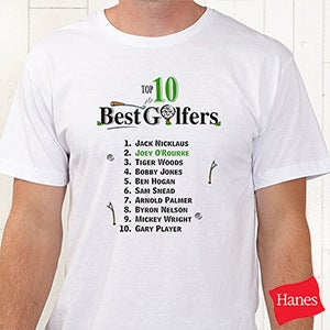Personalized top ten golfers custom t shirt sport for Meadowood mall custom t shirts