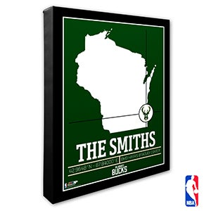 Milwaukee Bucks Personalized NBA Wall Art - 21234