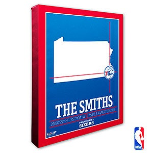 Philadelphia 76ers Personalized NBA Wall Art - 21240