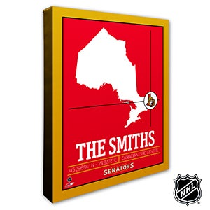 Ottawa Senators Personalized NHL Wall Art - 21324