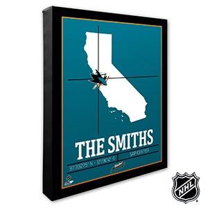 San Jose Sharks Personalized NHL Wall Art - 21328