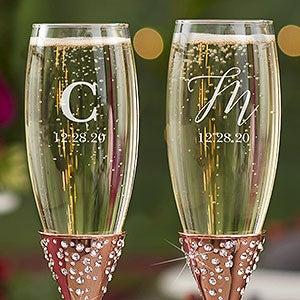 Sparkling Rose Gold Monogrammed Champagne Flutes - 21340